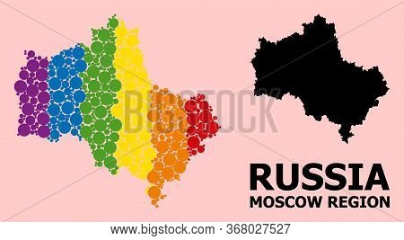 Rainbow Vibrant Pattern Vector Map Of Moscow Region For Lgbt, And Black Version. Geographic Concept
