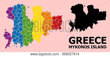 Spectrum Vibrant Mosaic Vector Map Of Mykonos Island For Lgbt, And Black Version. Geographic Mosaic