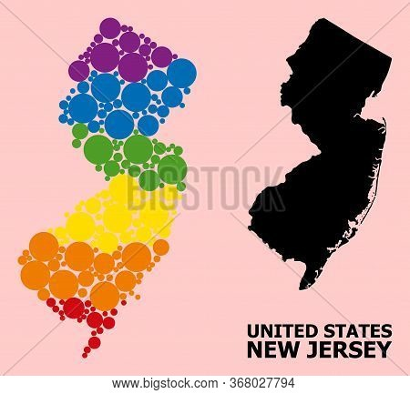 Spectrum Vibrant Mosaic Vector Map Of New Jersey State For Lgbt, And Black Version. Geographic Mosai