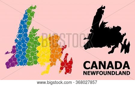 Spectrum Colored Mosaic Vector Map Of Newfoundland Island For Lgbt, And Black Version. Geographic Mo