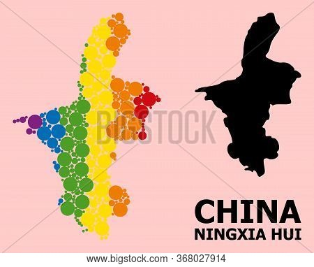 Rainbow Colored Collage Vector Map Of Ningxia Hui Region For Lgbt, And Black Version. Geographic Con