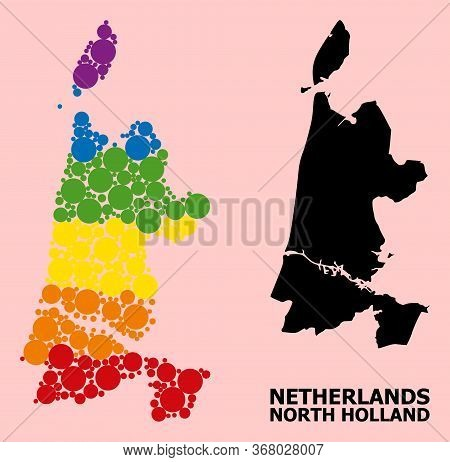 Spectrum Vibrant Mosaic Vector Map Of North Holland For Lgbt, And Black Version. Geographic Mosaic M