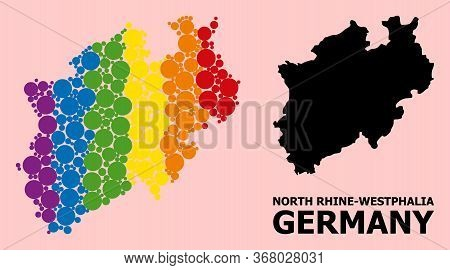 Spectrum Vibrant Collage Vector Map Of North Rhine-westphalia State For Lgbt, And Black Version. Geo