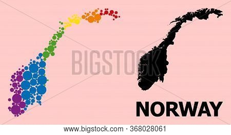 Spectrum Colored Mosaic Vector Map Of Norway For Lgbt, And Black Version. Geographic Concept Map Of