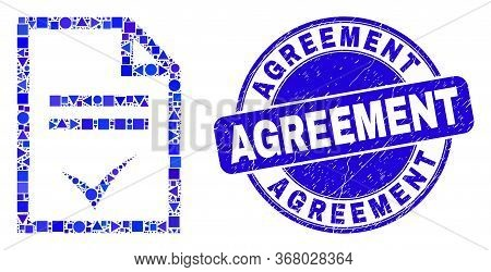 Geometric Agreement Page Mosaic Pictogram And Agreement Seal Stamp. Blue Vector Rounded Grunge Seal