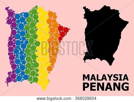 Rainbow Vibrant Collage Vector Map Of Penang Island For Lgbt, And Black Version. Geographic Collage