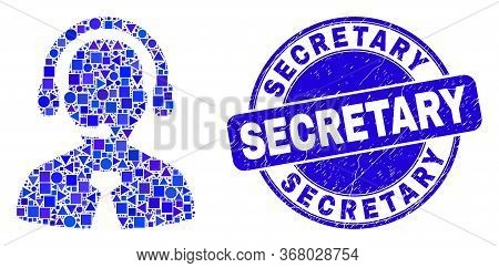 Geometric Call Center Manager Mosaic Icon And Secretary Seal Stamp. Blue Vector Rounded Scratched Se