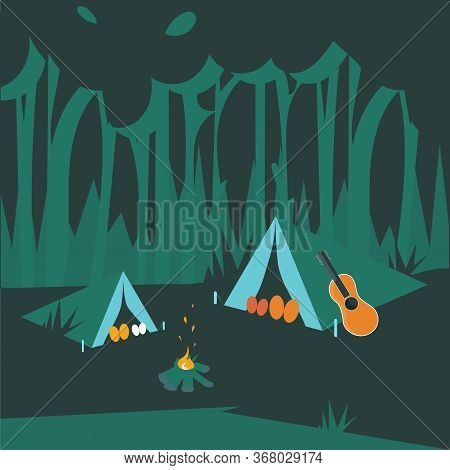 Family Night Picnic In Forest. Father, Daughter, Mother And Son Sleeping In A Tent. Color Cartoon Fl