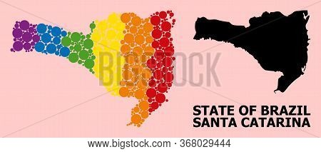 Spectrum Colored Collage Vector Map Of Santa Catarina State For Lgbt, And Black Version. Geographic