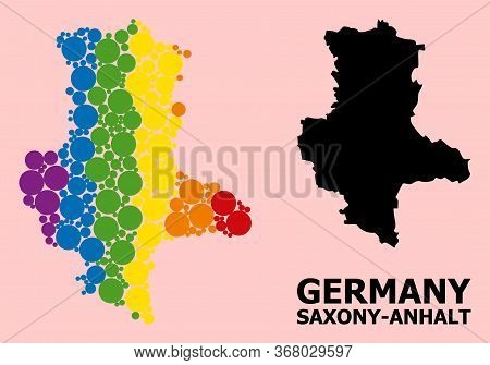 Spectrum Colored Collage Vector Map Of Saxony-anhalt State For Lgbt, And Black Version. Geographic C