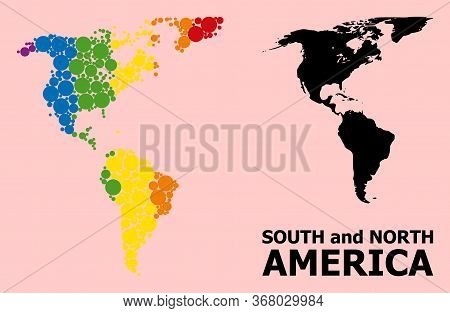 Spectrum Colored Mosaic Vector Map Of South And North America For Lgbt, And Black Version. Geographi