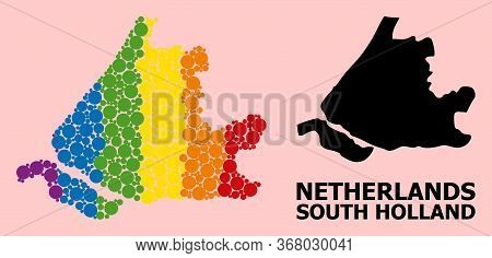 Rainbow Colored Collage Vector Map Of South Holland For Lgbt, And Black Version. Geographic Collage