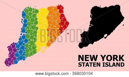 Spectrum Colored Pattern Vector Map Of Staten Island For Lgbt, And Black Version. Geographic Concept