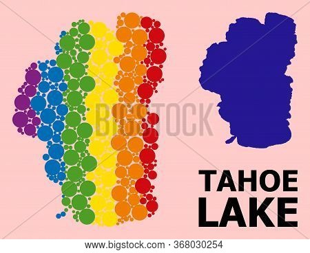 Rainbow Colored Mosaic Vector Map Of Tahoe Lake For Lgbt, And Black Version. Geographic Mosaic Map O