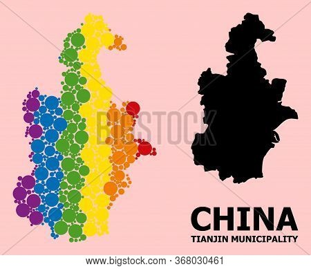 Rainbow Vibrant Collage Vector Map Of Tianjin Municipality For Lgbt, And Black Version. Geographic C