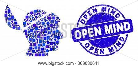 Geometric Open Mind Mosaic Icon And Open Mind Seal Stamp. Blue Vector Rounded Scratched Seal With Op