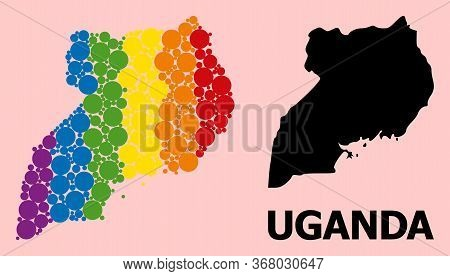 Rainbow Colored Mosaic Vector Map Of Uganda For Lgbt, And Black Version. Geographic Mosaic Map Of Ug