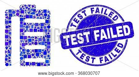 Geometric Pad List Items Mosaic Icon And Test Failed Seal Stamp. Blue Vector Rounded Textured Seal S