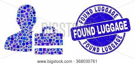 Geometric Person Case Mosaic Icon And Found Luggage Seal Stamp. Blue Vector Round Distress Seal With