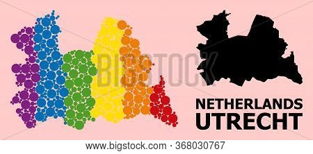Rainbow Vibrant Mosaic Vector Map Of Utrecht Province For Lgbt, And Black Version. Geographic Mosaic