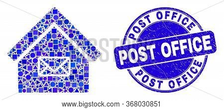 Geometric Post Office Mosaic Pictogram And Post Office Seal Stamp. Blue Vector Rounded Textured Seal