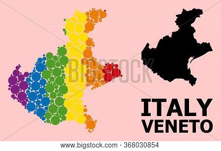 Spectrum Vibrant Mosaic Vector Map Of Veneto Region For Lgbt, And Black Version. Geographic Mosaic M