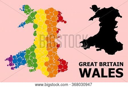 Spectrum Vibrant Collage Vector Map Of Wales For Lgbt, And Black Version. Geographic Collage Map Of