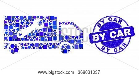 Geometric Repair Lorry Mosaic Icon And By Car Seal Stamp. Blue Vector Rounded Grunge Seal Stamp With