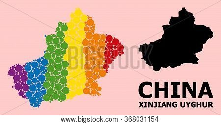 Spectrum Vibrant Collage Vector Map Of Xinjiang Uyghur Region For Lgbt, And Black Version. Geographi