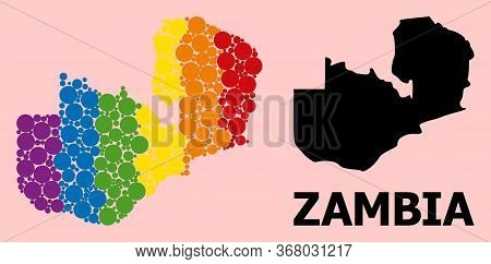 Spectrum Vibrant Mosaic Vector Map Of Zambia For Lgbt, And Black Version. Geographic Concept Map Of