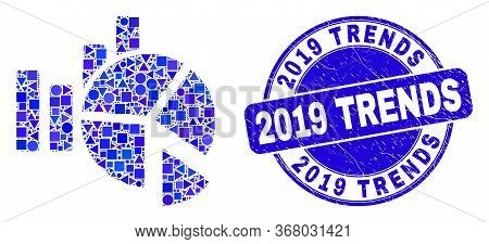 Geometric Statistics Charts Mosaic Pictogram And 2019 Trends Seal Stamp. Blue Vector Round Textured