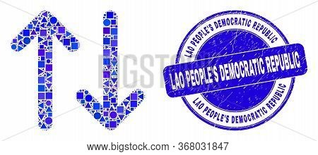 Geometric Vertical Exchange Arrows Mosaic Icon And Lao Peoples Democratic Republic Seal Stamp. Blue