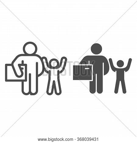 Father And Child With Gift Line And Solid Icon, Children Holiday Concept, Adult Man With Present For