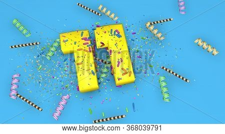 Number 11 For Birthday, Anniversary Or Promotion, In Thick Yellow Letters On A Blue Background Decor