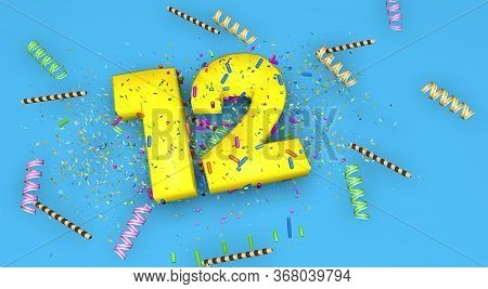 Number 12 For Birthday, Anniversary Or Promotion, In Thick Yellow Letters On A Blue Background Decor