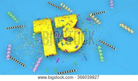 Number 13 For Birthday, Anniversary Or Promotion, In Thick Yellow Letters On A Blue Background Decor