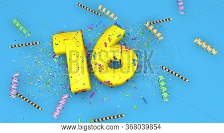 Number 16 For Birthday, Anniversary Or Promotion, In Thick Yellow Letters On A Blue Background Decor
