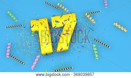 Number 17 For Birthday, Anniversary Or Promotion, In Thick Yellow Letters On A Blue Background Decor