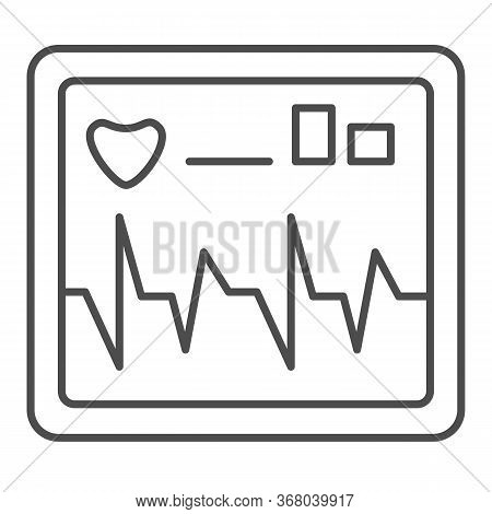 Monitor Screen Displays Heart Rate Thin Line Icon, Healthcare Concept, Cardiogram Device Sign On Whi