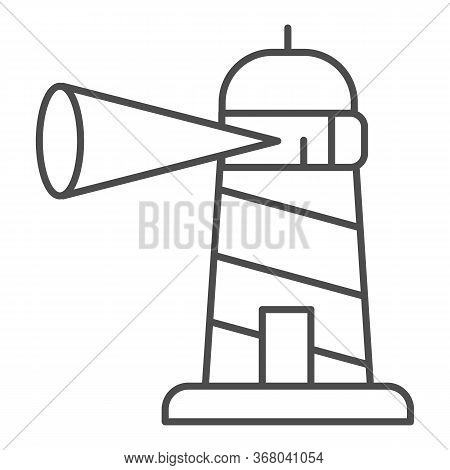 Beacon Building Thin Line Icon, Maritime Navigation Concept, Spotlight In Lighthouse Sign On White B
