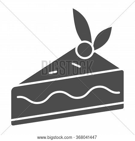 Cake Slice Solid Icon, Confectionary Concept, Cheesecake Sign On White Background, Piece Of Chocolat
