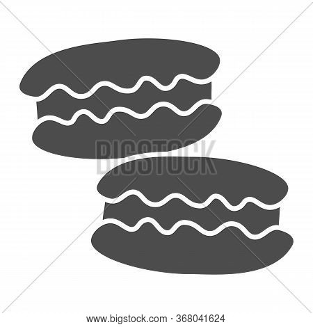 Macaroon Solid Icon, Confectionary Concept, Macaroon Sweet Dessert Sign On White Background, Macaron