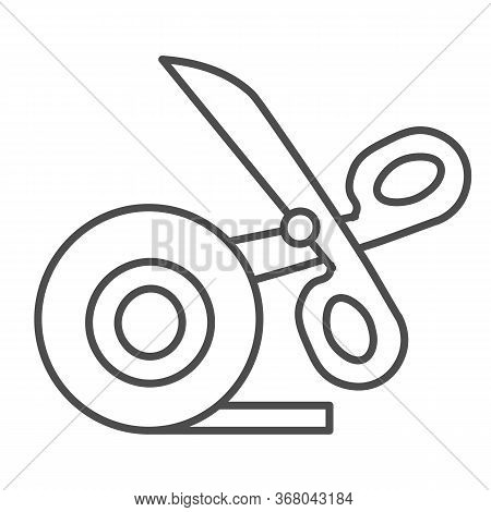 Scissors And Scotch Tape Thin Line Icon, Stationery Concept, Cutting Adhesive Tape Sign On White Bac