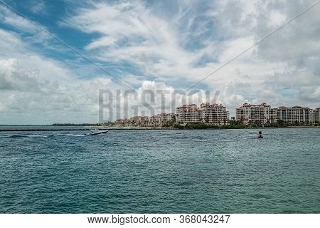 Fisher Island, South Beach, Miami Beach, Florida. Usa. Jetty And Ocean Off Luxurious Fisher Island R