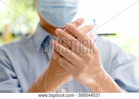 Corona Virus Prevention, Hygiene To Stop Spreading Coronavirus, Close Up Of Washing Hands Rubbing Wi