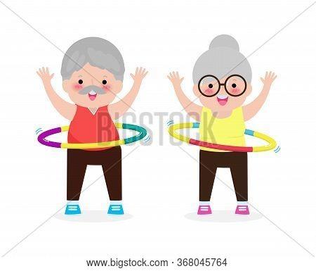 Cute Cartoon Senior Couple Doing Hula Hoop, Elderly People Exercises With Hula Hoop, Old Person Play