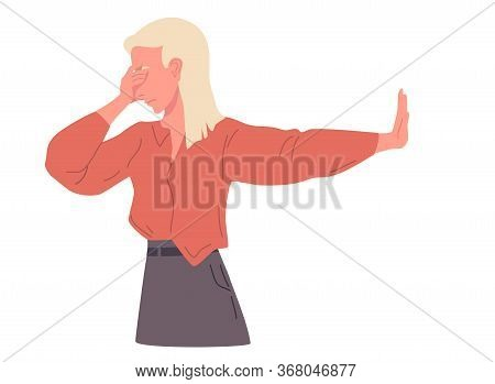 Negative Gestures Vector Illustrations. Disagree And Stop Consept. Hand Language Refuse.