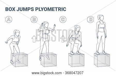 Woman Doing High Box Jumps Workout Exercise Illustration.