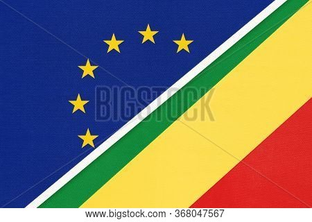 European Union Or Eu And Republic Of The Congo Or Congo-brazzaville National Flag From Textile. Symb