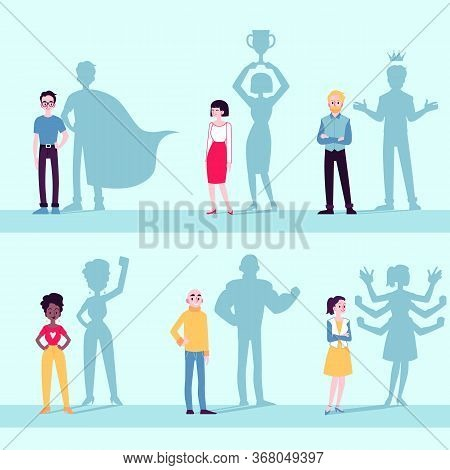 Motivated People Icon Set With Superhero Shadow Flat Vector Illustration Isolated.